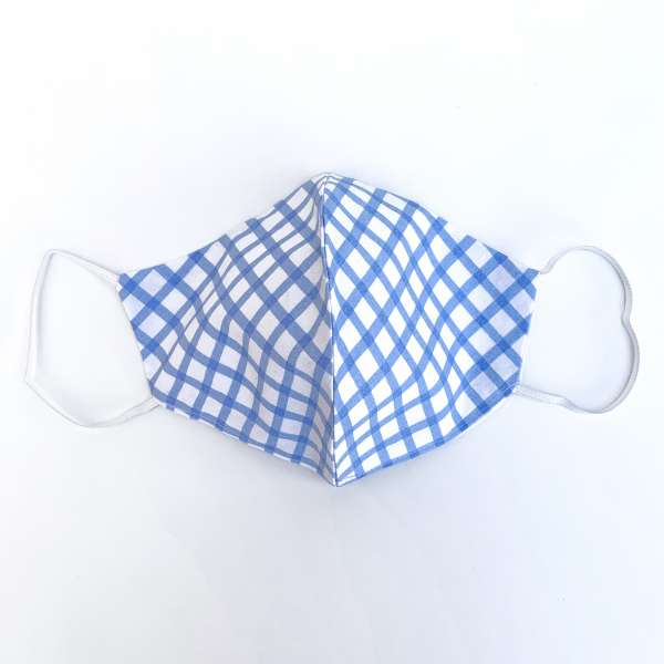Nase-Mund-Abdeckung M013 weiß-hellblau-kariert  #Gesichtsmaske #Nasenmaske #Mundschutz #Mund-Nase-Abdeckung