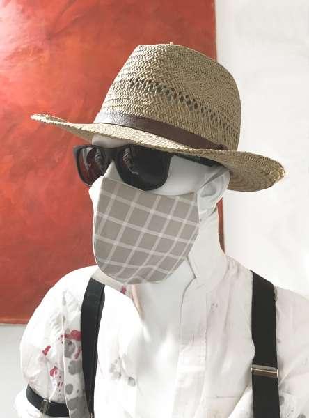 Nase-Mund-Abdeckung M006 sand-weiß-kariert  #Gesichtsmaske #Nasenmaske #Mundschutz #Mund-Nase-Abdeckung