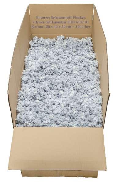 Basotect Schaumstoff Flocken in weiß und hellgrau - keine Brandlast da schwer entflammbar