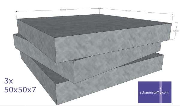 Schaumstoff Platten 3stk 50x50x7 cm mittelfest