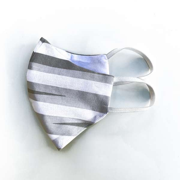 Mund-Nase-Abdeckung M022 weiß-grau-gestreift  #Gesichtsmaske #Nasenmaske #Mundschutz #Behelfsmaske