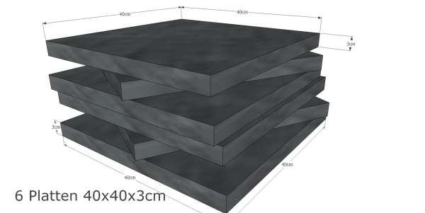 PS40x40D3T6QHi Schaumstoff Platten Set 6 stk je 4040x3cm 2240 online bei schaumstoff.com günstig kaufen
