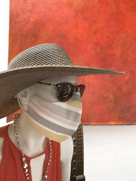 Nase-Mund-Abdeckung M011 grau-weiß-rose-gestreift  #Gesichtsmaske #Nasenmaske #Mundschutz #Mund-Nase-Abdeckung