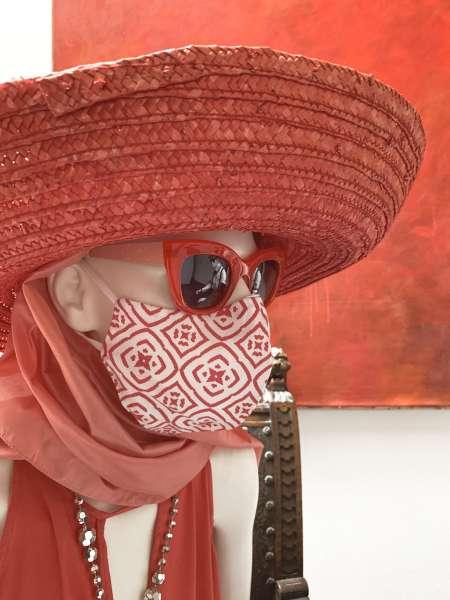 Nase-Mund-Abdeckung M007 weß-rot  #Gesichtsmaske #Nasenmaske #Mundschutz #Mund-Nase-Abdeckung