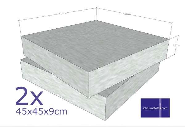 Schaumstoff Platten 2stk 45x45x9 cm fest bis hart
